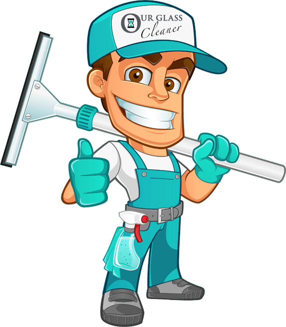 Our Glass Cleaner of Boise mascot cartoon drawing of man with a squeegee and a hat